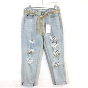 KanCan Destroyed Sequin Boyfriend Cropped Jeans 25